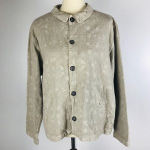 CP Shades Cotton Textured Taupe Button Up Blouse L